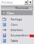 toolbox class enumeration - enterprise architect