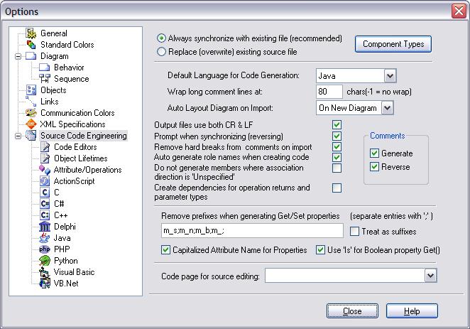 mda source code engineering options